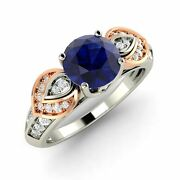 Certified Sapphire And Diamond Two Tone Vintage Look Ring 14k White Gold-1.42 Ct