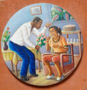 Andre Normil Haitian Oil Painting On Canvas Vintage Folk Art Masterpiece
