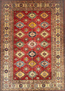 Hand-knotted Rug Carpet 7x9and03910 Kazak Mint Condition