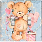 Metal Light Switch Cover Wall Plate Teddy Bear Party Heart Flowers Gift Toy025