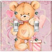 Metal Light Switch Cover Wall Plate Teddy Bear Party Heart Flowers Gift Toy026