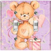 Metal Light Switch Cover Wall Plate Teddy Bear Party Heart Flowers Gift Toy027
