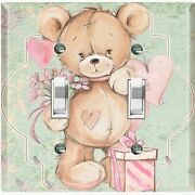 Metal Light Switch Cover Wall Plate Teddy Bear Party Heart Flowers Gift Toy028