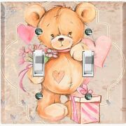 Metal Light Switch Cover Wall Plate Teddy Bear Party Heart Flowers Gift Toy029