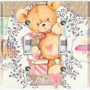 Metal Light Switch Cover Wall Plate Teddy Bear Party Heart Flowers Gift Toy030
