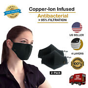 Copper Ion Infused Washable Face Mask With 4 Layers Of Filtration - 2 Pack