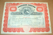 Cascade Silver Mines And Mills 1921 Vintage Stock Certificate
