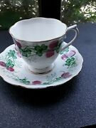 Royal Albert Lucky Clover Bone China Vintage Footed Cup And Saucer