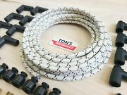 8mm Vintage Cloth Covered Spark Plug Wire Kit Electronic Ignition Systems White