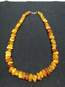 Old Antique Vintage Raw Baltic Amber Stone Necklace Yolk Egg 94 G