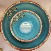 New Tommy Bahama Melamine Turquoise Bamboo Serving Bowl And 4 Cereal Bowls