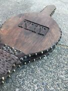 Antique Gothic Revival 19th Century Wooden / Leather Fire Bellows With Monogram