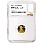 2019-w Proof 5 American Gold Eagle 1/10 Oz. Ngc Pf70uc Brown Label