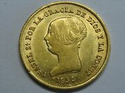 1855 Sevilla 100 Reales Isabel Ii Double Date Gold Coin Spanish Colonial Spain