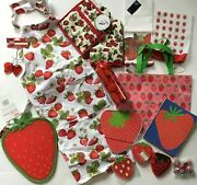 🍓 Huge Lot New Strawberry Themed Kitchen Housewares Apron Towels Oven Mittandnbsp🍓