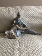 Lladro 4935 - Large Closing Scene Ballerina And Clown Dancers Collector Statue