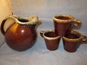 4 Pc Vintage Hull Oven Proof Brown Drip Glaze Pottery Drink Pitcher 3 Mugs