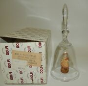 Dolfi Crystal Bell Girl With Goose And Pan Flute Clapper Mib Made In Italy
