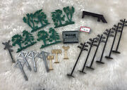 Vintage Marx Plastic Trees Electric Poles Yard Signs Train Playset Accessories
