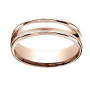 14k Rose Gold 6mm Comfort-fit High Polished With Milgrain Band Ring Sz-12