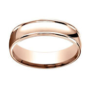 14k Rose Gold 6mm Comfort-fit High Polish Finish Band Ring Sz-13