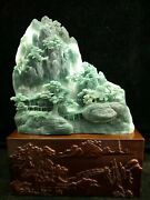 15and039and039 Beautiful Natural Xiuyan Jade Hand-carved Furniture Landscape Statue