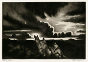 Gene Kloss And039riders At Sundownand039 Aquatint And Drypoint Signed 1953