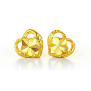 Wholesale 500 Pairs Lot 24k Yellow Gold Plated Love Heart Flower Stud Earrings