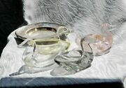 Vintage Cut Glass, 4 Swans With Little Trays, Berndorf, To Serve A Digestive