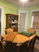 Antique Vintage Dining Room Set- China Cabinet, Credenza, Table W/ 4 Chairs