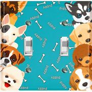 Metal Light Switch Cover Wall Plate Cute Puppy Dog Bone Teal
