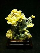 16and039and039 Natural Xiuyan Jade Hand-carved Furniture Decorate Peony Flower Statue