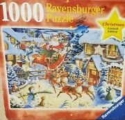 Santaand039s Flying Visit New Ravensburger Puzzle Limited Christmas Ed. 1000 Pieces