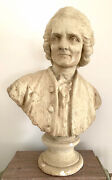Large Life Size Antique 19th C Bust Voltaire French Philosophe Rousseau Diderot