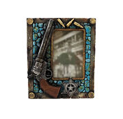Old West Sheriff Pistol Badge And Bullets Picture Frame - 4 X 6