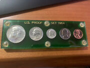 Complete 1964 Us Silver 5 Coin Proof Set - Green Capital Holder