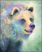 Grizzly Bear Art Print On Paper Or Canvas Of Bear Painting By Krystle Cole