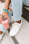 New Womenand039s Comfy Genuine Leather White Causal Sneakers Lace-up Round Toe