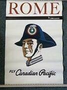 Authentic Lithograph Travel Poster Rome Fly Canadian Air 24x36 Rome