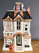 Fitz And Floyd Halloween Boo Haunted House Cookie Jar W/lid - Hand Painted - 1987
