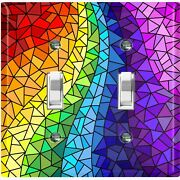 Metal Light Switch Cover Wall Plate Rainbow Glass Colorful Mosaic