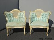 Pair Vintage French Provincial Louis Xvi Blue Tufted Accent Chairs