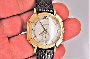 Vintage Rare Solid 14k Gold Lecoultre Pershing Mens Watch