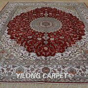 Yilong 8and039x10and039 Hand Knotted Silk Carpets Home Decor Indoor Oversized Rugs 1254
