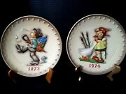 M J Hummel 1973 And 1974 Collector Plates Germany Very Good