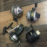 Lot Of 4 Vintage Zebco Spin Cast Fishing Reel Parts Repair Lot