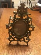 Vtg Brass Decorative Arts Frame Detailed Scrollwork Oval Picture Mirror