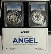 2016 Pcgs Pr70 Fs Isle Of Man Proof And Reverse Silver Angel 2-coin Set - 016/500