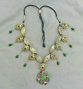 Antique Moroccan Lebba Gilt Silver Glass And Enamel