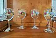 Set Of 4 Royal Doulton Old Country Roses Wine Glasses Goblet